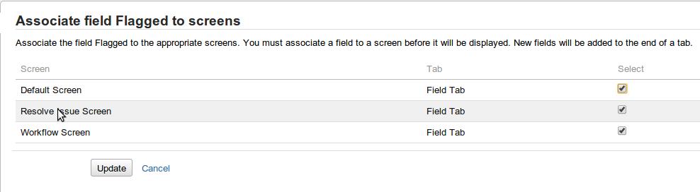 Flagged field screens