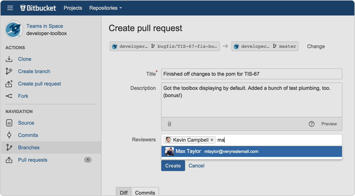 Create Pull Request bitbucket